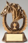 Premium Scultped Antique Gold Resin Trophy -Horse Head Wreath Equestrian Trophy Awards