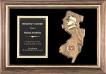 Solid American Walnut New Jersey and Pennsyslvania Plaque Fire / Police / EMS