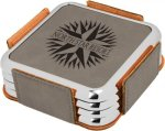 Leatherette Square Coaster Set with Silver Edge -Gray  Sales Awards